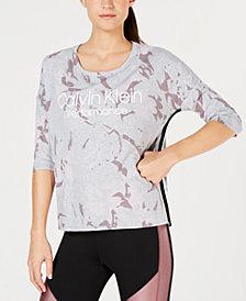 Calvin Klein Performance Printed High-Low Dolman-Sleeve T-Shirt
