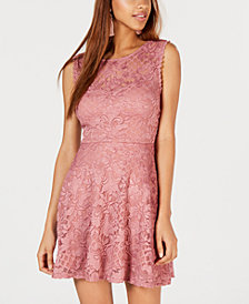 City Studios Juniors' Glitter Lace Fit & Flare Dress, Created for Macy's