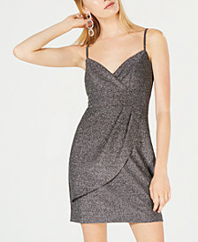 Teeze Me Juniors' Metallic Faux-Wrap Dress