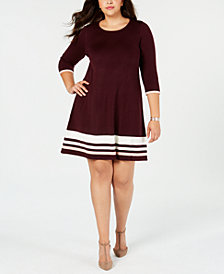 Jessica Howard Plus Size Striped Fit & Flare Sweater Dress