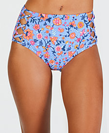 California Waves Floral Printed Strappy High Waist Bottoms, Created for Macy's