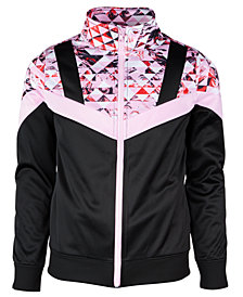 Ideology Big Girls Colorblocked Geo-Print Track Jacket, Created for Macy's
