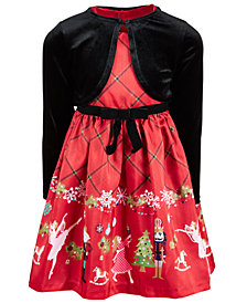 Bonnie Jean Little Girls 2-Pc. Nutcracker Dress & Velvet Shrug Set