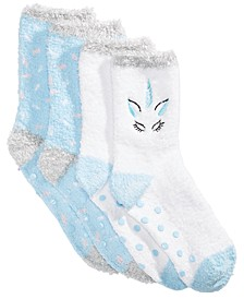 Cozy Socks Little & Big Girls 2-Pk. Unicorn Gripper Crew Socks