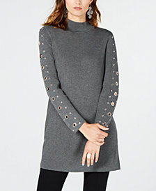 I.N.C. Grommet-Detail Tunic Sweater, Created for Macy's