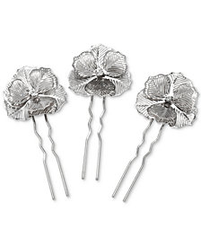 Badgley Mischka Silver-Tone 3-Pc. Set Openwork Flower Hair Pins