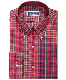 Club Room Men's Classic/Regular Fit Stretch Stewart Tartan Dress Shirt, Created for Macy's
