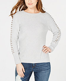 I.N.C. Studded-Sleeve Sweater, Created for Macy's