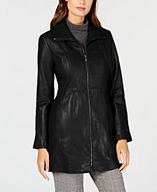 Anne Klein Plus Size Stand-Collar Leather Coat