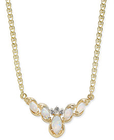 "Opal (1/2 ct. t.w.) & Diamond Accent 16"" Collar Necklace in 14k Gold"