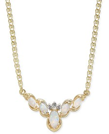 """Opal (1/2 ct. t.w.) & Diamond Accent 16"""" Collar Necklace in 14k Gold"""