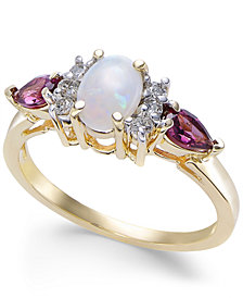 Multi-Gemstone (1 ct. t.w.) & Diamond (1/8 ct. t.w.) in 14k Gold
