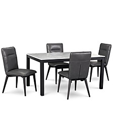 Callisto Marble Dining 5-Pc. Set (Table & 4 Side Chairs), Created for Macy's