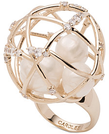 Carolee Gold-Tone Crystal & Imitation Pearl Caged Dome Statement Ring