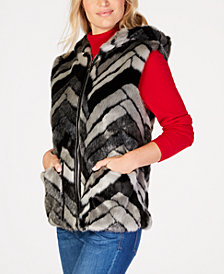 Steve Madden Chevron Faux-Fur Hooded Vest