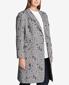 Calvin Klein Plus Size Floral-Printed Plaid Double-Breasted Jacket