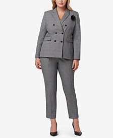 Tahari ASL Plus Size Double-Breasted Plaid Pantsuit