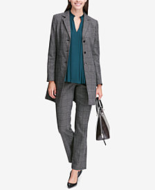 Calvin Klein Plaid Topper Jacket, Pleated Shell & Pants