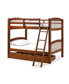 Alaterre Furniture Spindle Twin Over Twin Bunk Bed with Storage Drawers