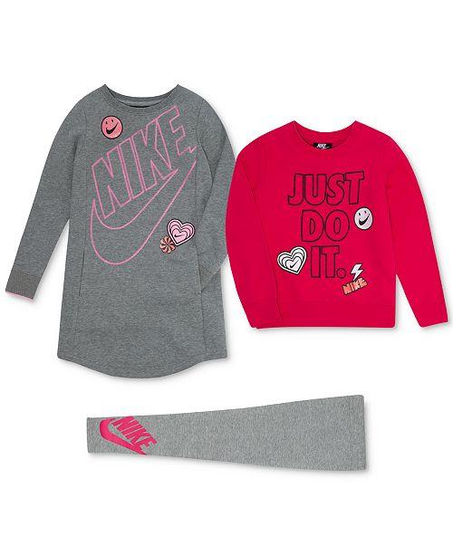 550bb86c7f Nike Little Girls Doodle-Print Sweatshirt, Gym Dress & Leg-A-See ...