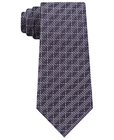 DKNY Men's Grid Slim Silk Tie