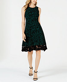 Donna Ricco Flocked Velvet A-Line Dress