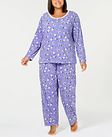 Charter Club Plus Size Thermal Fleece Pajama Set, Created for Macy's