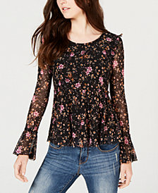 American Rag Juniors' Printed Ruffled Top, Created for Macy's