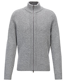 BOSS Men's Zipped Virgin Wool Sweater