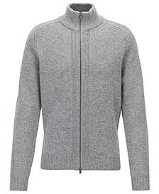 BOSS Men's Zipped Virgin Wool Sweater