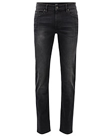 BOSS Men's Slim-Fit Super-Stretch Stonewashed Denim Jeans