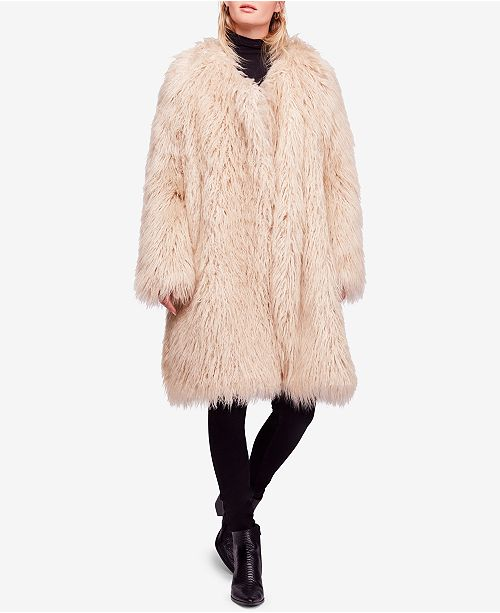 Free People Florence Shaggy Faux-Fur Coat