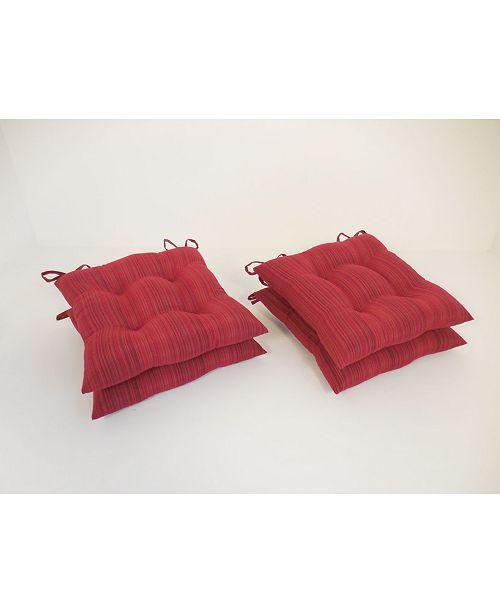 Arlee Home Fashions Rainy Stripe Set of Four Chair Pad Seat Cushions