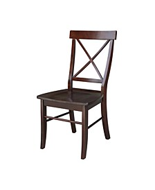 X-Back Chair - With Solid Wood Seat , Set of 2