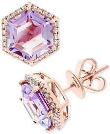 EFFY® Amethyst (3-3/8 ct. t.w.) & Diamond (1/6 ct. t.w.) Stud Earrings in 14k Rose Gold