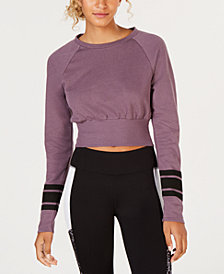 Material Girl Juniors' Striped-Sleeve Crop Top, Created for Macy's