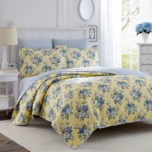 Laura Ashley King Linley Yellow Quilt Set Bedding