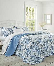 Laura Ashley Full/Queen Bedford Delft Quilt Set
