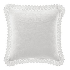 Laura Ashley Solid White Crochet European Sham