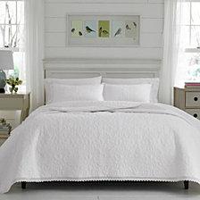 Laura Ashley Twin Heirloom Crochet White Quilt Set