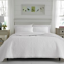 Laura Ashley King Heirloom Crochet White Quilt Set