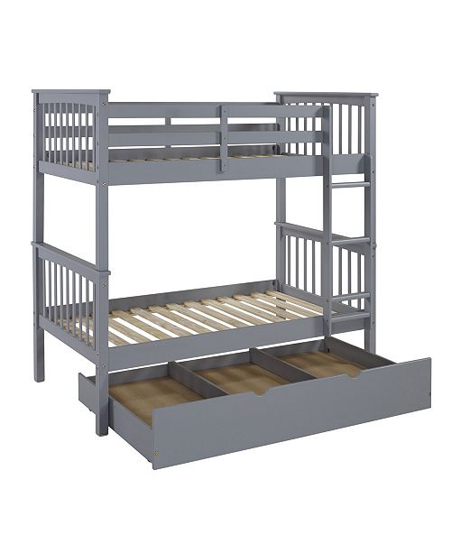 Walker Edison Solid Wood Twin Bunk Bed with Trundle Bed - Grey