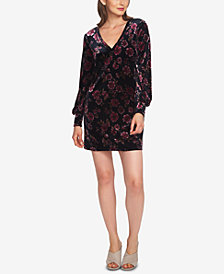 1.STATE Printed Velvet Blouson-Sleeve Dress