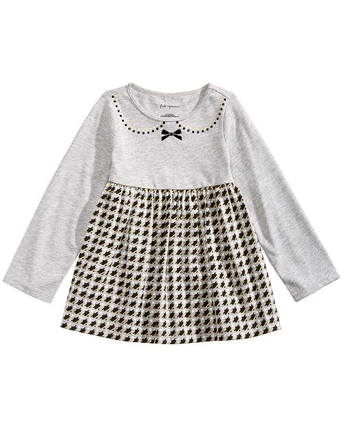 51afc865a34c2e First Impressions Baby Girls Long-Sleeve Houndstooth Tunic, Created ...