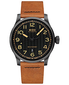 LIMITED EDITION Mido Men's Swiss Automatic Multifort Brown Horween® Leather Strap Watch with Interchangeable Black Strap 44mm - A Special Edition