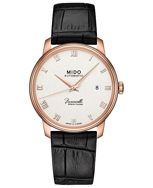 Mido Men's Swiss Automatic Baroncelli III Heritage Black Leather Strap Watch 39mm
