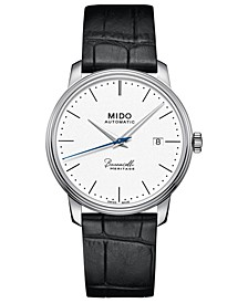 Men's Swiss Automatic Baroncelli III Heritage Black Leather Strap Watch 39mm
