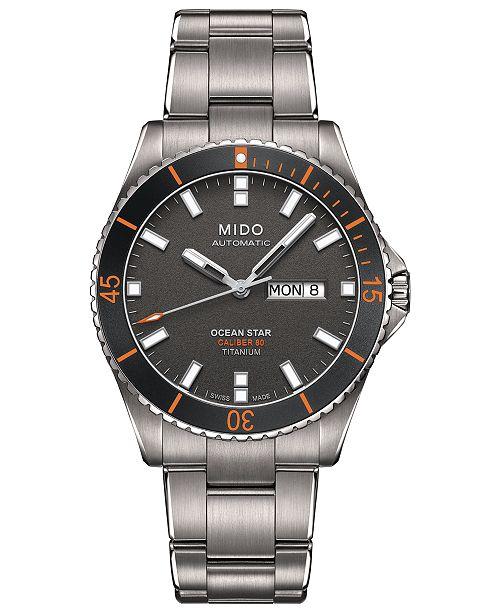Mido Men's Swiss Automatic Ocean Star Captain V Titanium Bracelet Watch 42.5mm
