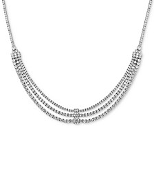 "Cubic Zirconia Triple Row 18"" Statement Necklace in Sterling Silver"