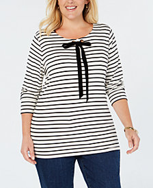 Charter Club Plus Size Striped Velvet-Tie Neck Top, Created for Macy's